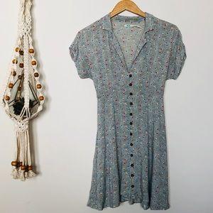 UO Kimchi Blue Front Button & Tie Back Dress Sz S